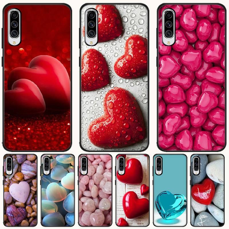 BaweiTE piedra de amor cubierta negro suave de la caja del teléfono de la cáscara del teléfono para Samsung A6 6S 6Plus 720 7 750 8 8 PLUS 9 920 2018 A8 A9STAR