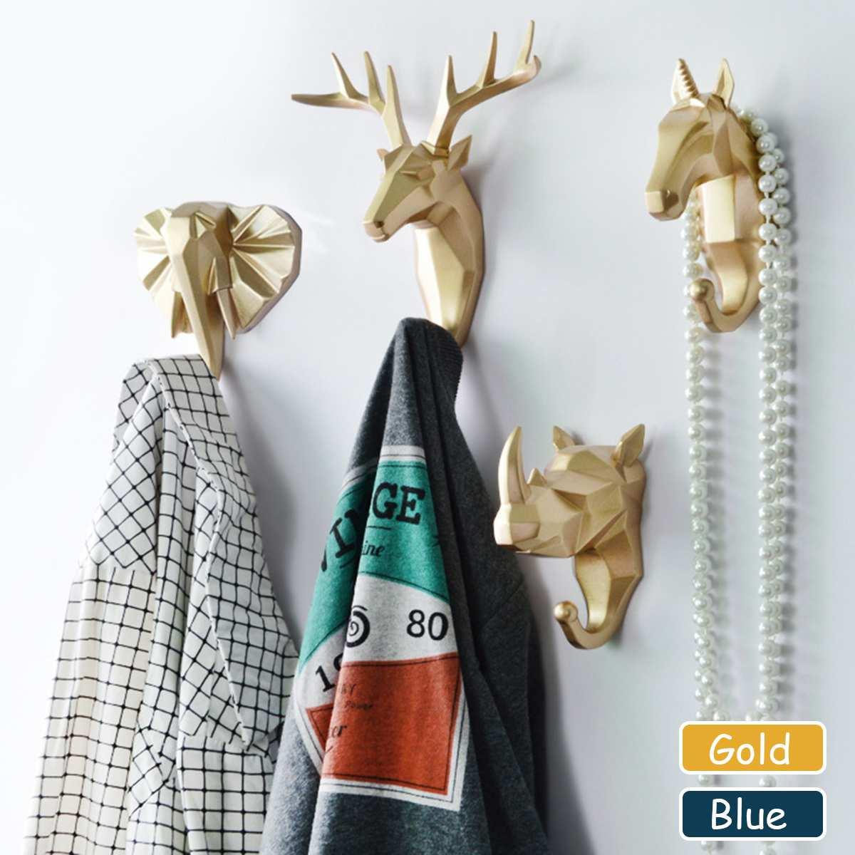 Resin Deer Head Antler Animal Wall Hooks Decorative Clothes Scarf Key Hook Coat Cap Hanger Rack Interior Showcase Wall Decor New