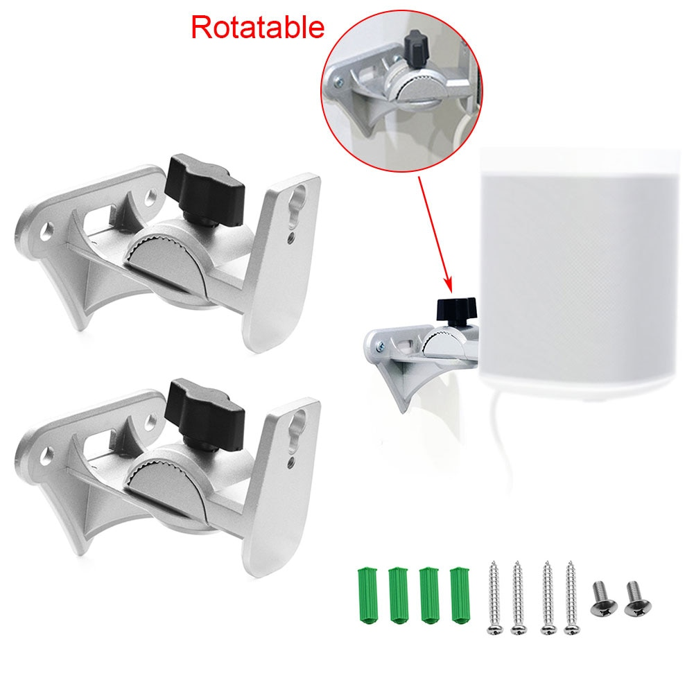 1pair Speaker Bracket Suspension Wall Mount Metal Wall Mount Shelf Holder Stand Bracket for SONOS Play:1 WiFi Wireless Sound