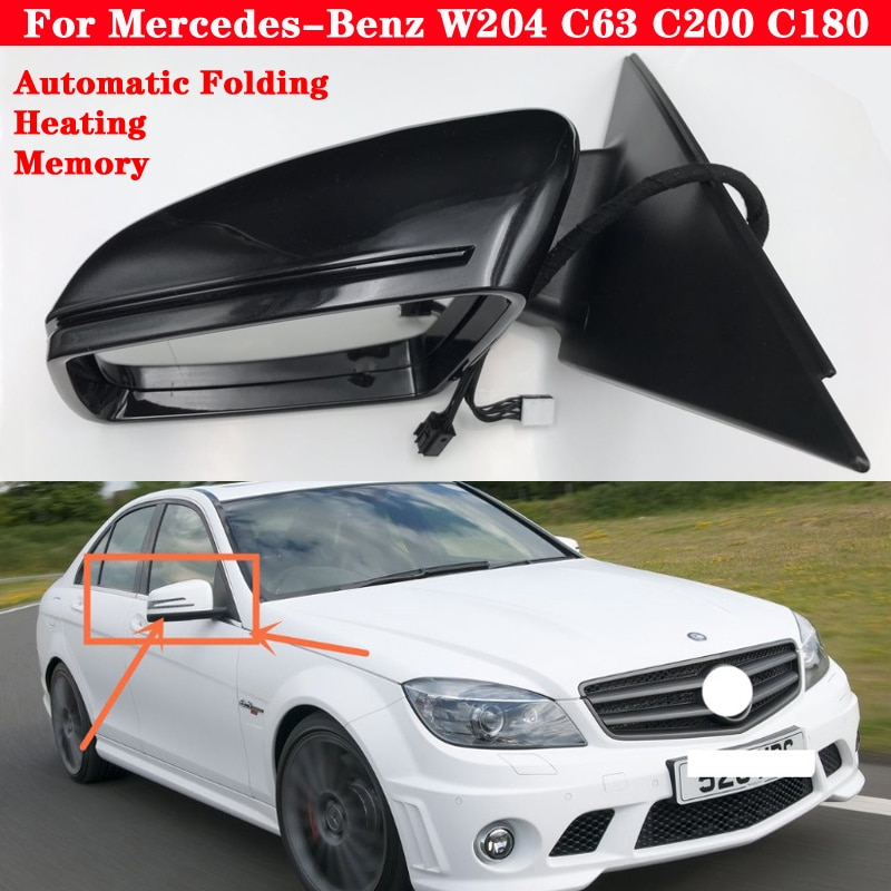 zjcgo hd car rear view reverse back up parking camera upgrade for mercedes benz mb c class w204 c180 c200 c280 c300 c350 c63 amg Car Exterior Rearview Mirror Side Mirror Rear View Mirror Outside Reverse Mirror Assembly for Mercedes-Benz W204 C63 C200 C180