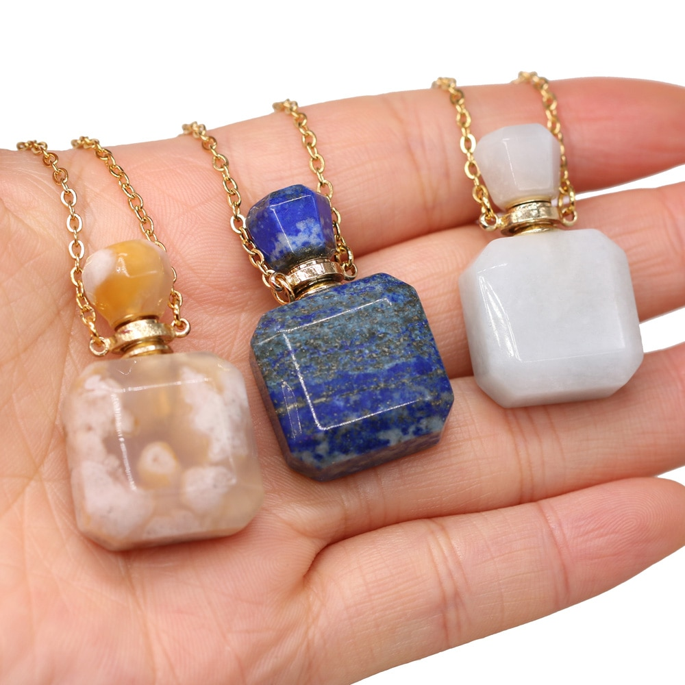 Natural Gem Stone Perfume Bottle Pendant Essential Oil Diffuser Vial Necklace Lapis Lazuli Agates Charms Necklaces Jewelry Gift  - buy with discount