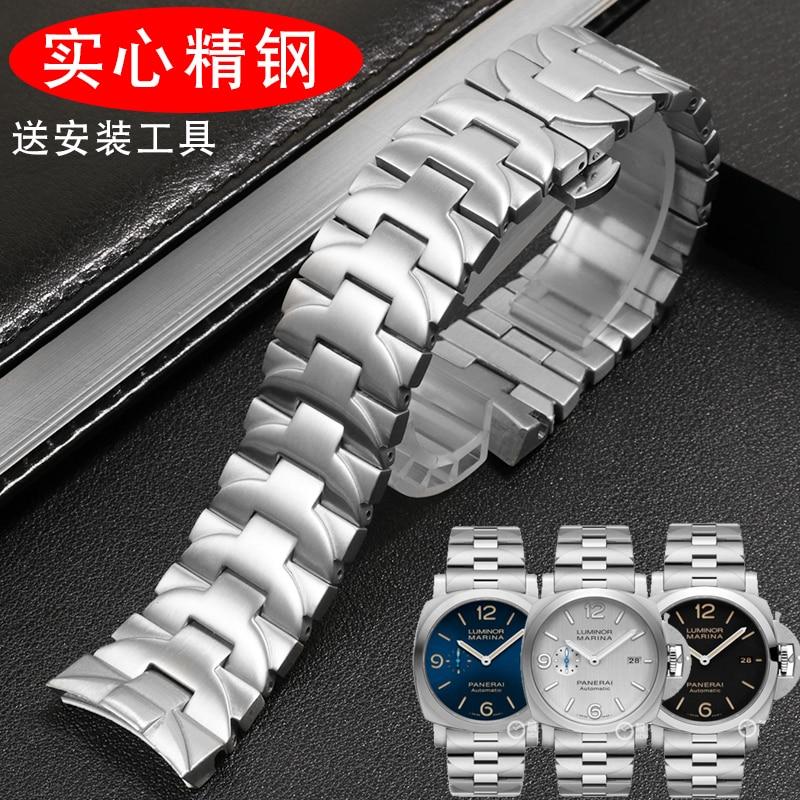Apropriado para Panerai Pulseira de Aço Inoxidável Cotovelo Banda Borboleta Fecho Relógio Corrente 24mm Pam441 111