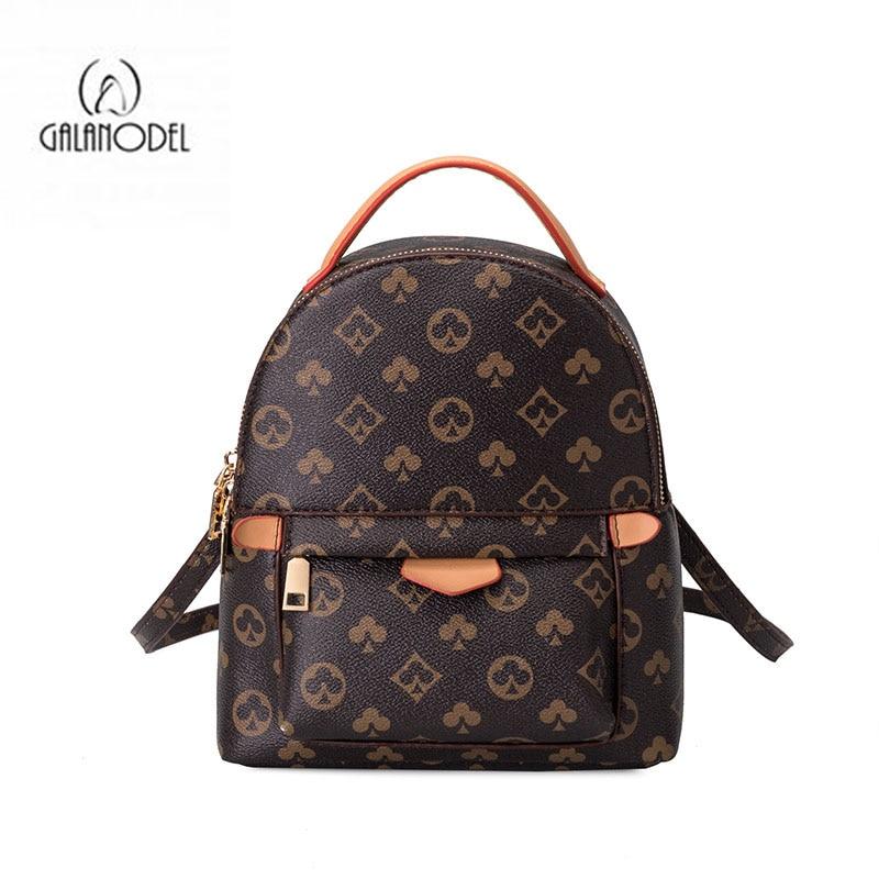 2021 Vintage Luxury Designer Printed Women Backpack Leather Knapsack for Teenage Girls Female School