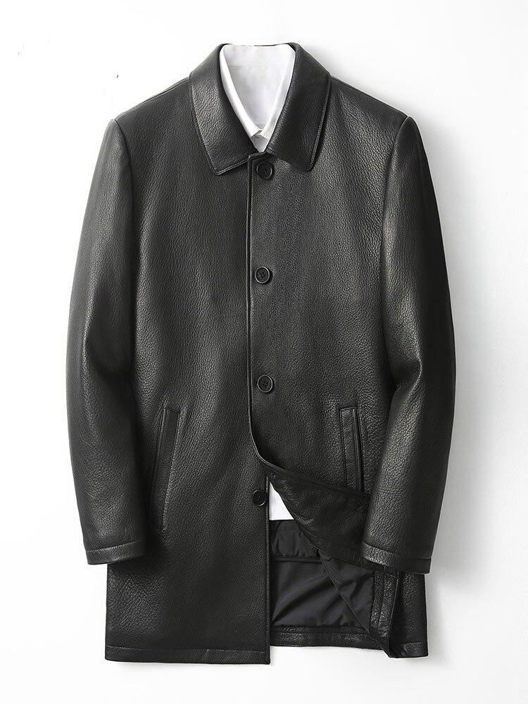 معطف رجالي من الجلد الطبيعي ، بطانة قابلة للإزالة ، ملابس غير رسمية