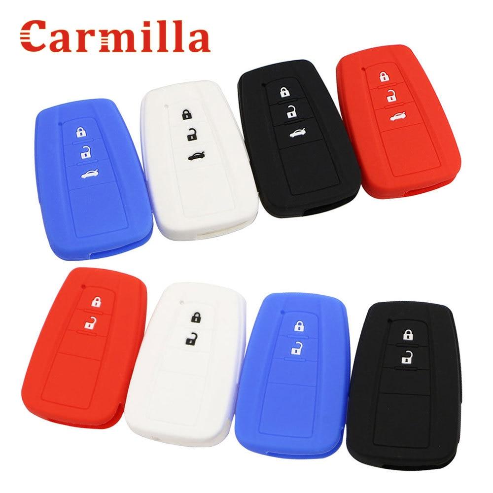Carmilla silicone carro chave fob capa caso para toyota chr C-HR camry prius prado 2016-2020 2 3 botões remoto keyless