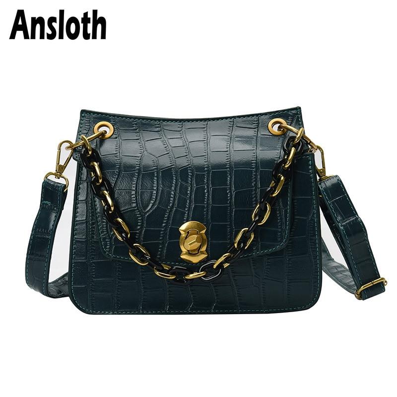 Ansloth Luxury Stone Pattern Shoulder Bag Women Chain Bag Handbag Ladies PU Leather Crossbody Bag Female Top-handle Bag HPS788