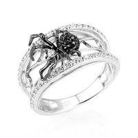 Женское кольцо с черным пауком Huitan, белое Ювелирное Украшение из паутины с микропокрытием из циркония, женское кольцо на палец