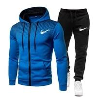 new winter mens sets clothing print hoodie fleece zipper casual sweatshirt sport sweatshirt mens 2021 tracksuit set