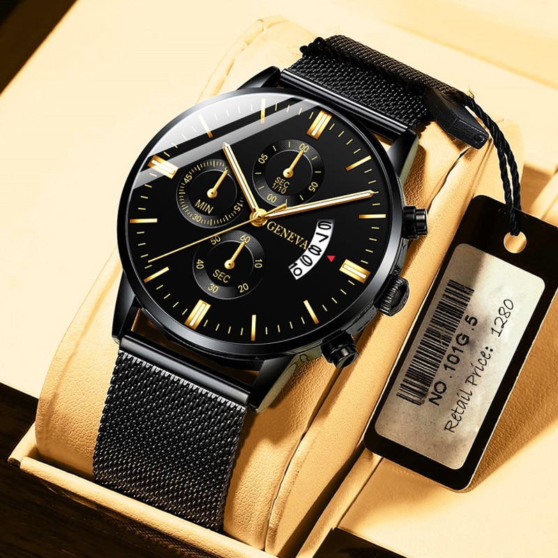 Роскошные модные мужские часы 2021, Мужские кварцевые часы со стальным сетчатым браслетом и календарем, деловые повседневные часы, подарки, р...