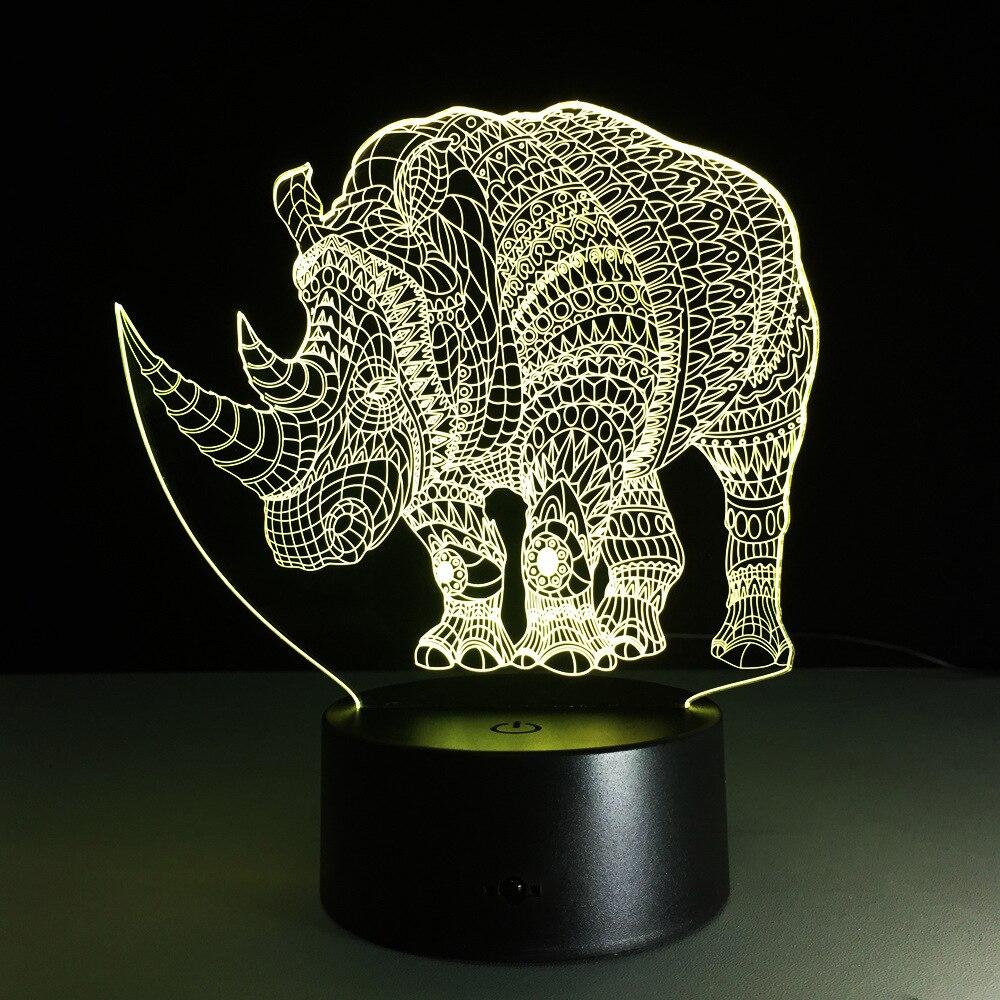 Novedad rinoceronte 7 colores 3d lámpara Led luces de noche para niños toque Mesa Usb Lampara Lampe bebé dormir luz nocturna lámpara