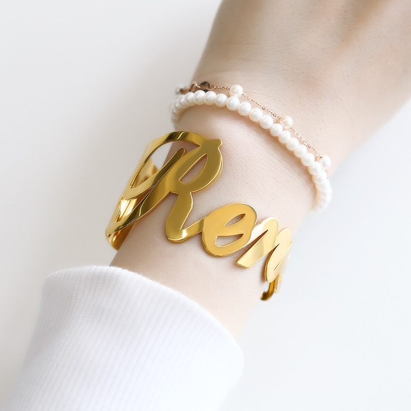 escalus new silver color magnetic stainless steel bracelet for women pure clear branded crystal bracelets bangle wristband charm Customized Name Bracelets for Women Stainless Steel Gold Silver Color Bracelet Personalized Charm Bangle Valentine Jewelry Gift