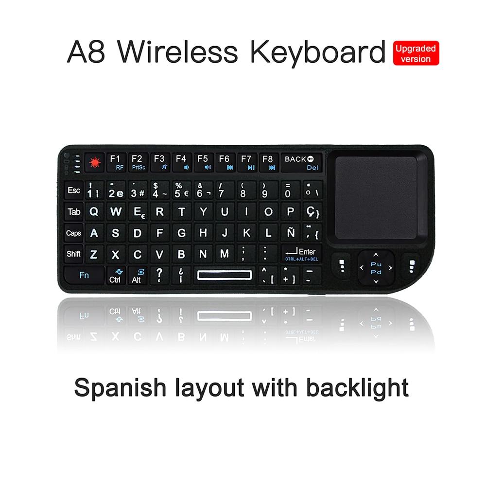 Teclado inalámbrico A8 Mini de 7 colores con Teclado de Aire español de 2,4 ghz con panel táctil Control remoto Android TV Box