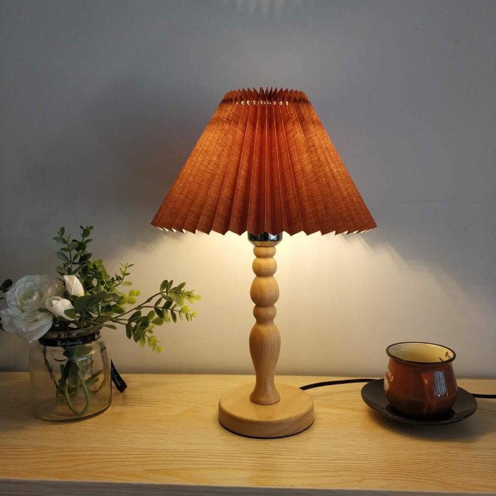 Lámpara de mesa de madera maciza Abajur, base coreana E27, para habitación...