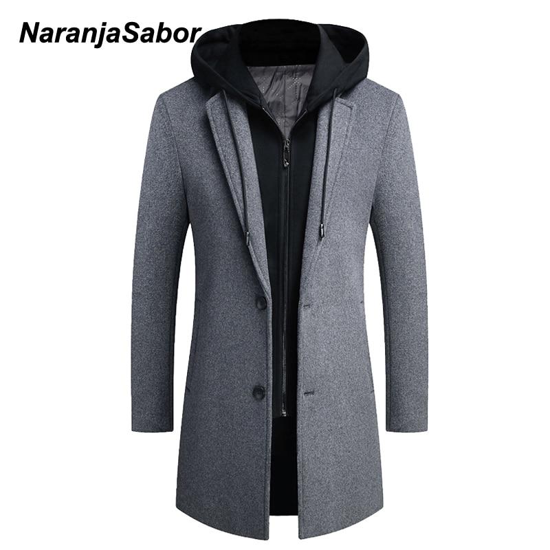 NaranjaSabor-معطف بقلنسوة للرجال من الصوف ، لون خالص ، جودة عالية ، مقاس كبير 5XL ، N721 ، خريف وشتاء 2020