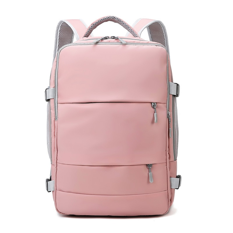 Pink Women Travel Backpack Water Repellent Anti-Theft Stylish Casual Daypack Bag with Luggage Strap