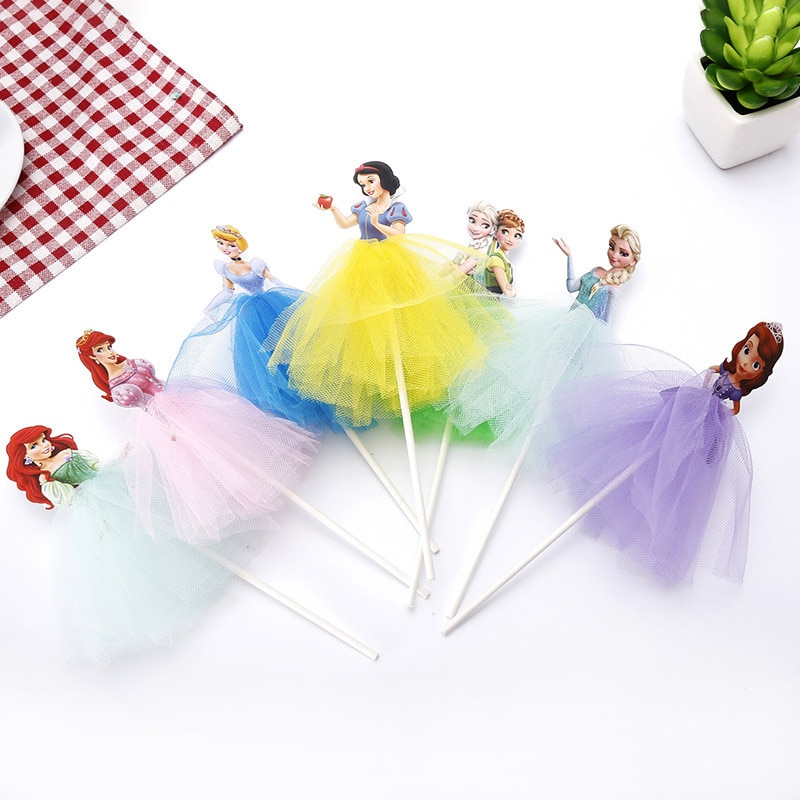 AliExpress - 1pcs Cartoon Princess Birthday Party Decoration Kid Cupcake Cake Topper For Girls Happy Birthday Party Baby Shower Cake Supplies