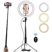 Selfie LED lumière annulaire avec trépied pour le maquillage, diffusion en direct et vidéo Youtube, lumière annulaire à intensité variable pour la photographie
