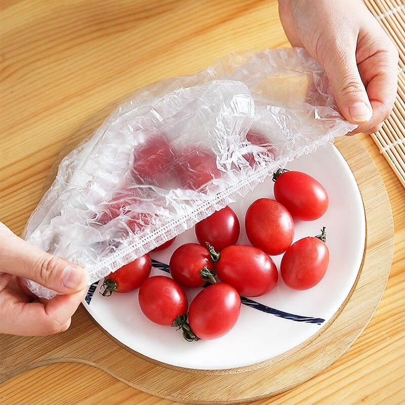 50/100 шт. одноразовые пищевые крышки, пластиковая упаковка, эластичные пищевые крышки для фруктовых мисок, чашек, колпачки для хранения, кухон...