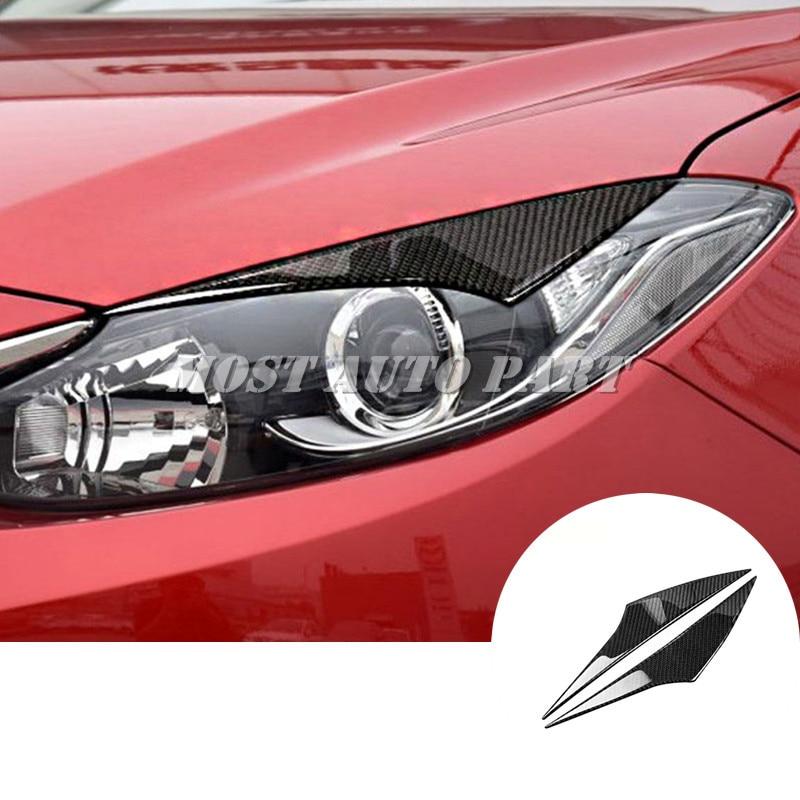 Carbon Fiber Headlight Eye Lid Eyebrow Trim Cover For Mazda 3 Mazda3 2014-2019