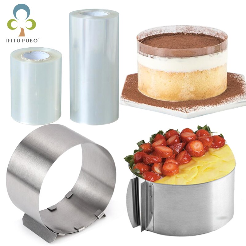Mousse réglable anneau rond moule Mousse gâteau bord collier Film cuisine accessoire bricolage outils de cuisson gâteaux Dessert décoration GYH
