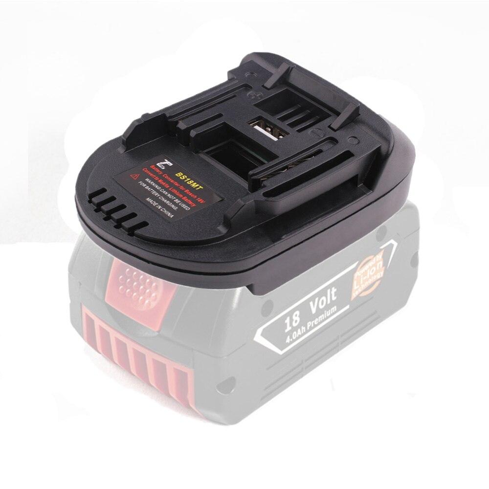 New Battery Adapter Converter USB BS18MT For Bosch 18V BAT619G/620 Batteries Convert To For Makita 18V BL 1860 Lithium Battery