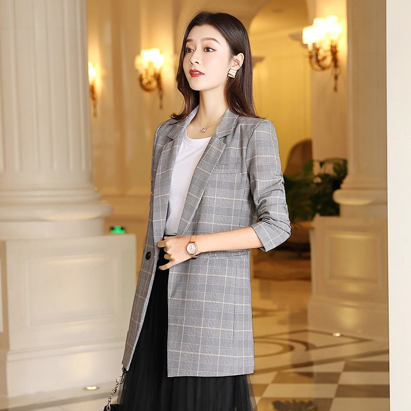 Vintage Casual Plaid Blazer Women Fashion Double Breasted Office Ladies Jacket Coat Female Notched Collar Long Sleeve Suits women solid blazer double breasted jacket women casual notched collar blazer office ladies work suit new fashion outerwear