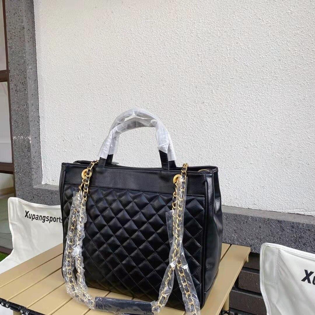 فاخر مصمم كلاسيكي خريف جديد حقيبة تسوق أسود المعين جلدية 2C قفل مشبك سيدة حمل حقيبة سيدة حقيبة كتف حقيبة يد