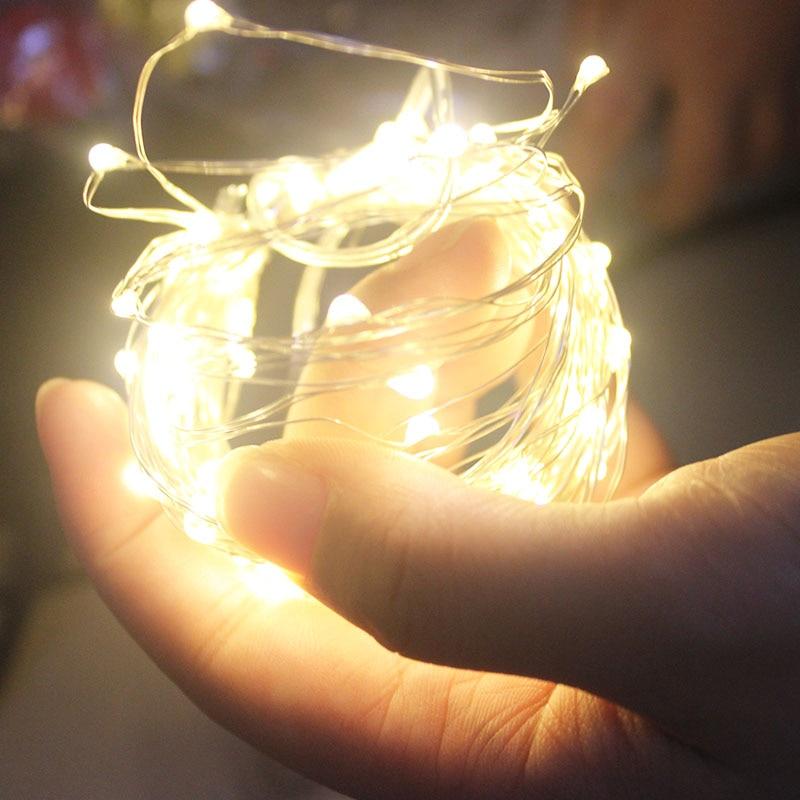 LED cadena de luces 10M 5M 2M de plata 1M guirnalda con alambre a casa en Navidad decoración para fiesta de boda alimentado por batería de 5V USB de la luz de hadas