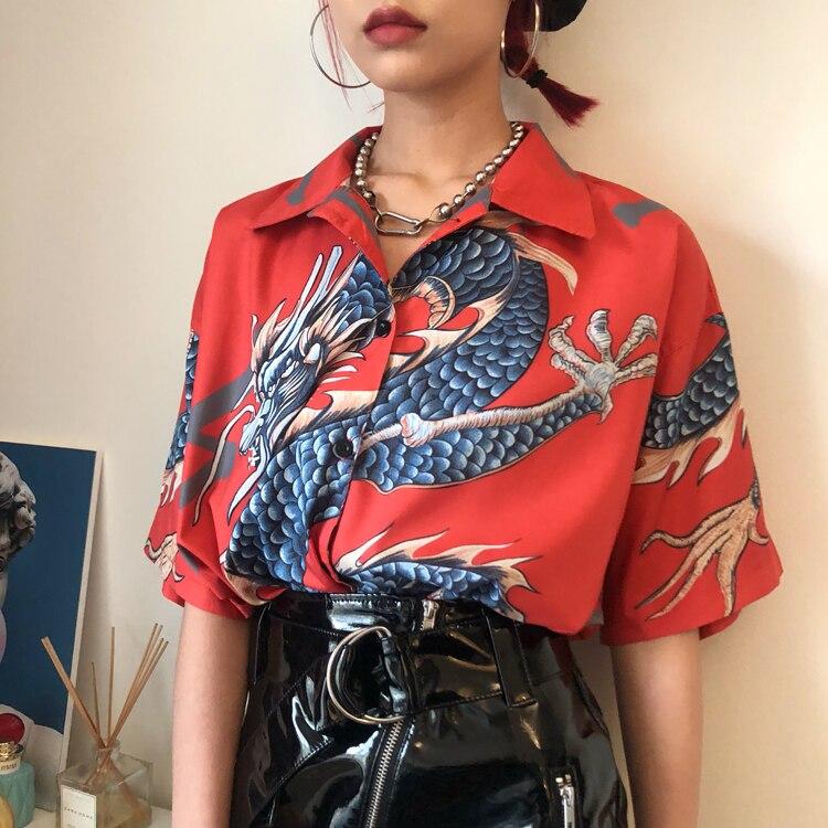 2020 verano Harajuku Camisa de gasa para mujer blusa de estilo chino blusa vintage con estampado de dragón camisa suelta de manga corta