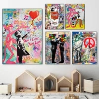 modern abstract figure graffiti street art magic cube canvas painting wall art poster and print wall art picture for living room