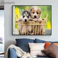 Toile dart mural personnalise a la mode  mignon petit chien  affiche imprimee  image  decoration de la maison  salon   20-1005-42-14