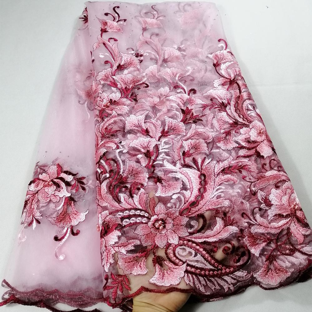 Последняя африканская кружевная ткань, розовый тюль, кружевная ткань с бисером, высокое качество, африканские нигерийские Свадебные ткани, Бесплатная доставка, LHX22B, 2020