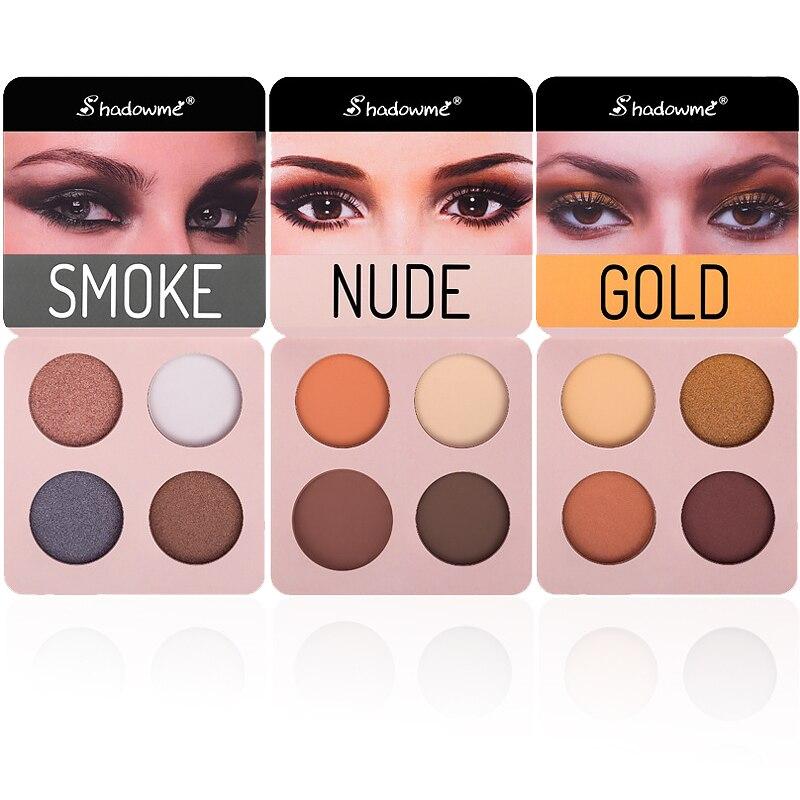Maquillaje de belleza, paleta de sombra de ojos, brochas de maquillaje, 4 colores, sombra de ojos azul oscuro, brillo rojo, polvo de sombra de ojos ahumado