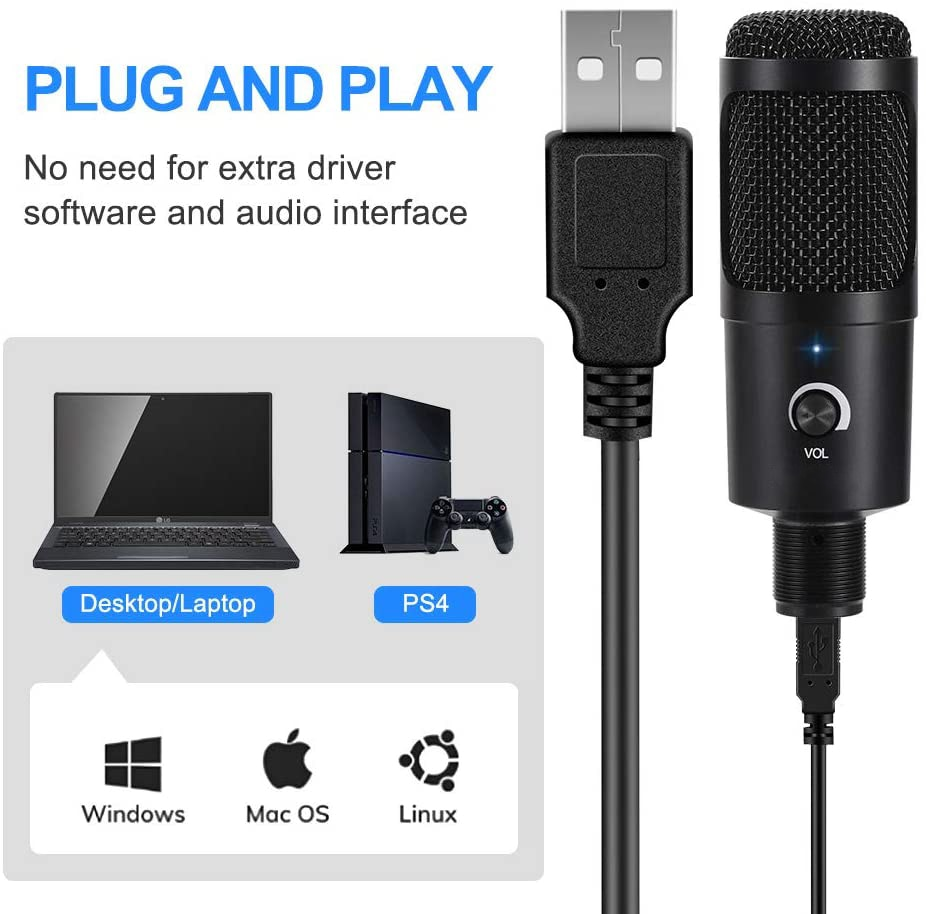 USB Computer Condenser Microphone Kit with Adjustable Scissor Arm Stand for PC YouTube Video Gaming Streams Studio T669 enlarge