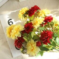3 köpfe Dahlien Künstliche Blumen DIY Silk Daisy Chrysantheme Herbst Lebendige Gefälschte Blume und Blatt Hochzeit Garten Dekoration