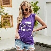 summer mama bear sleeveless letter print women tshirt round neck loose fashion beach style tops casual vest ladies t shirt