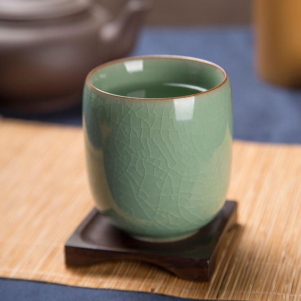 [GRANDNESS] taza de té de celadón longquan taza de té de celadón Longquan taza de té de vidrio de cerámica de oficina Q japonesa taza de té de 160ml