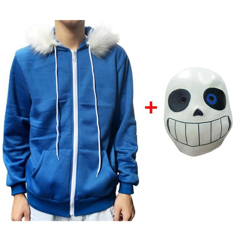 Sans Undertale Cosplay sudaderas con capucha máscara de látex chaqueta con esqueleto fresco sans plus terciopelo con capucha cremallera suéter animación equipo de juego