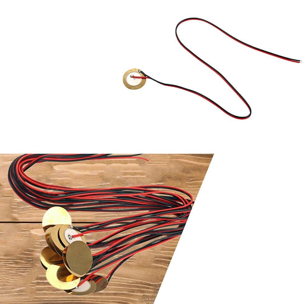 12 Uds discos piezoeléctricos, disco sonoro, zumbador piezoeléctrico con cable