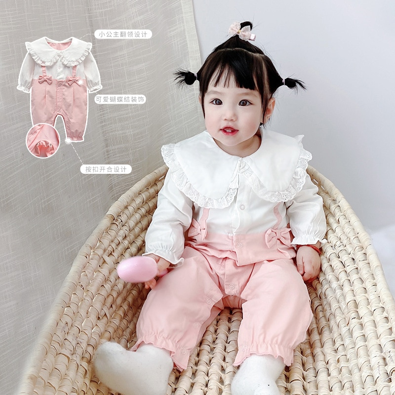 Yg Brand Children's Wear, 0-2 Years Old Suit, Baby Climbing Suit, Lotus Leaf Cute Newborn Clothes, B