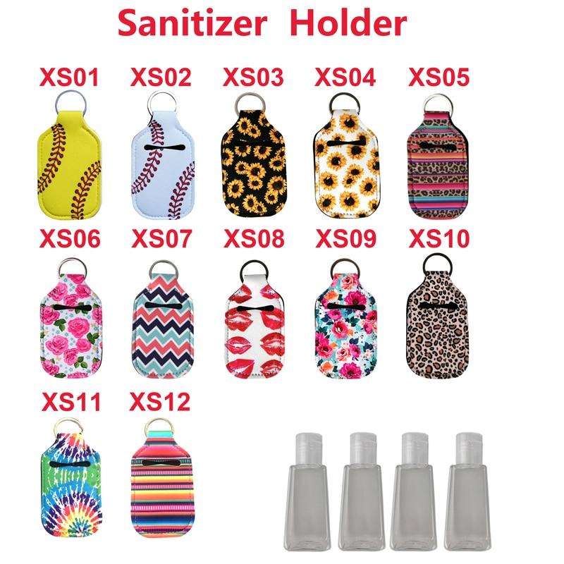 LLavero de mano de neopreno de 30ML 100 Uds., porta botellas desinfectante, bolsas de llavero, llavero, botella de Jabón para manos, soporte de 10*6cm
