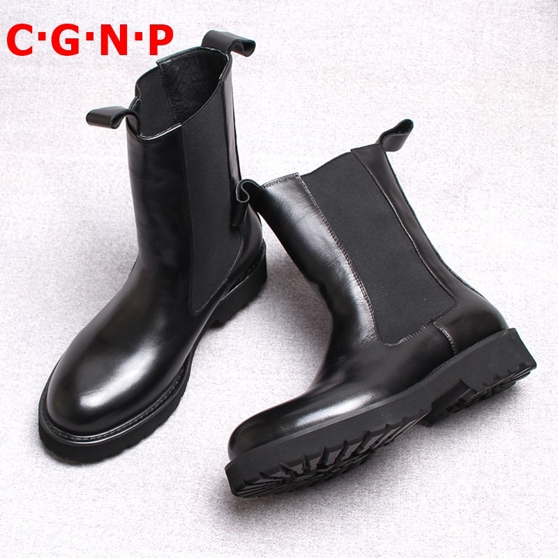 C · G · N · P جديد وصول جولة تو موضة عالية الجودة جلد أصلي للرجال أحذية أسود الشتاء تشيلسي الأحذية اليدوية رجالي أحذية ركوب الخيل