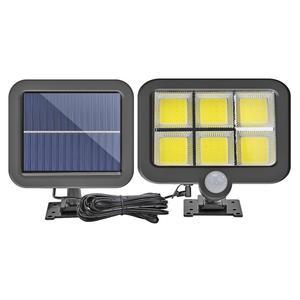 Outdoor Solar Power Lamps COB 120 LED Human Body Induction Wall Light Black Plastic Waterproof Garden Street Lighting