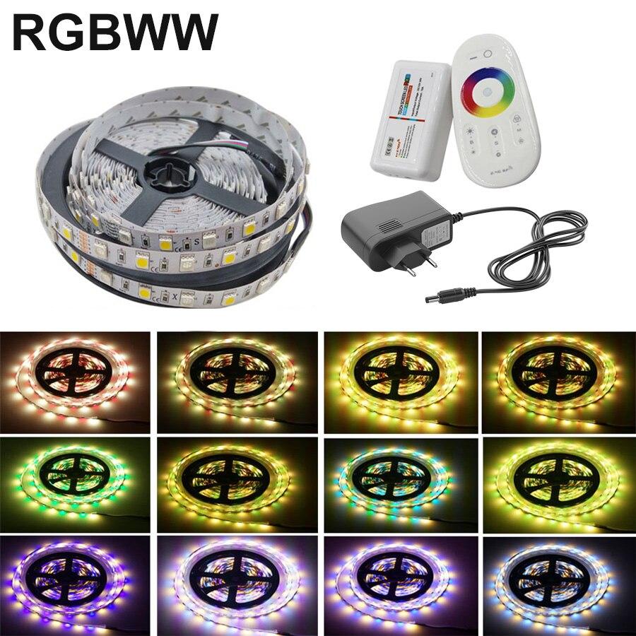 5m 10m 5050 rgbww conduziu a lâmpada de luz tira 20m 15m rgb tira néon fita flexível diodo dc 12v adaptador conjunto corda
