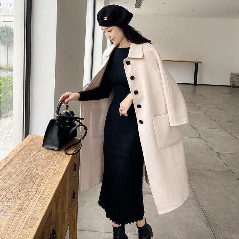 قبالة الموسم الوجهين معطف من قماش الكشمير المرأة متوسطة طويلة الخريف الشتاء 2021 جديد معطف الصوف هيبورن الصغيرة