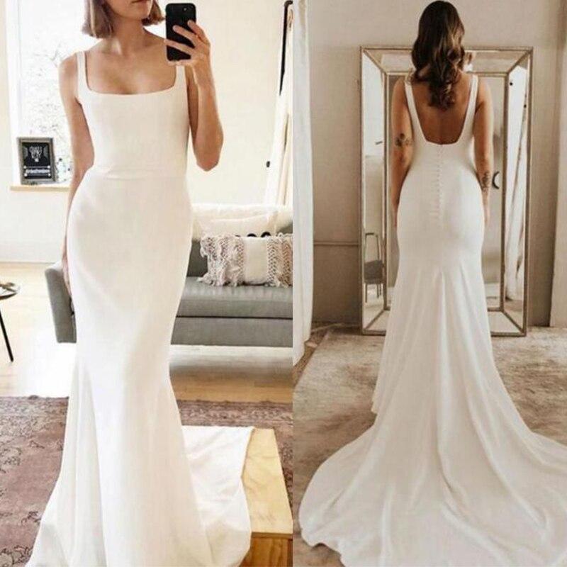 Promo Boho Wedding Dress Mermaid 2021 Stain Square Collar Spaghetti Strap  Long Train Bride Gowns Backless Simple vestidos de maire