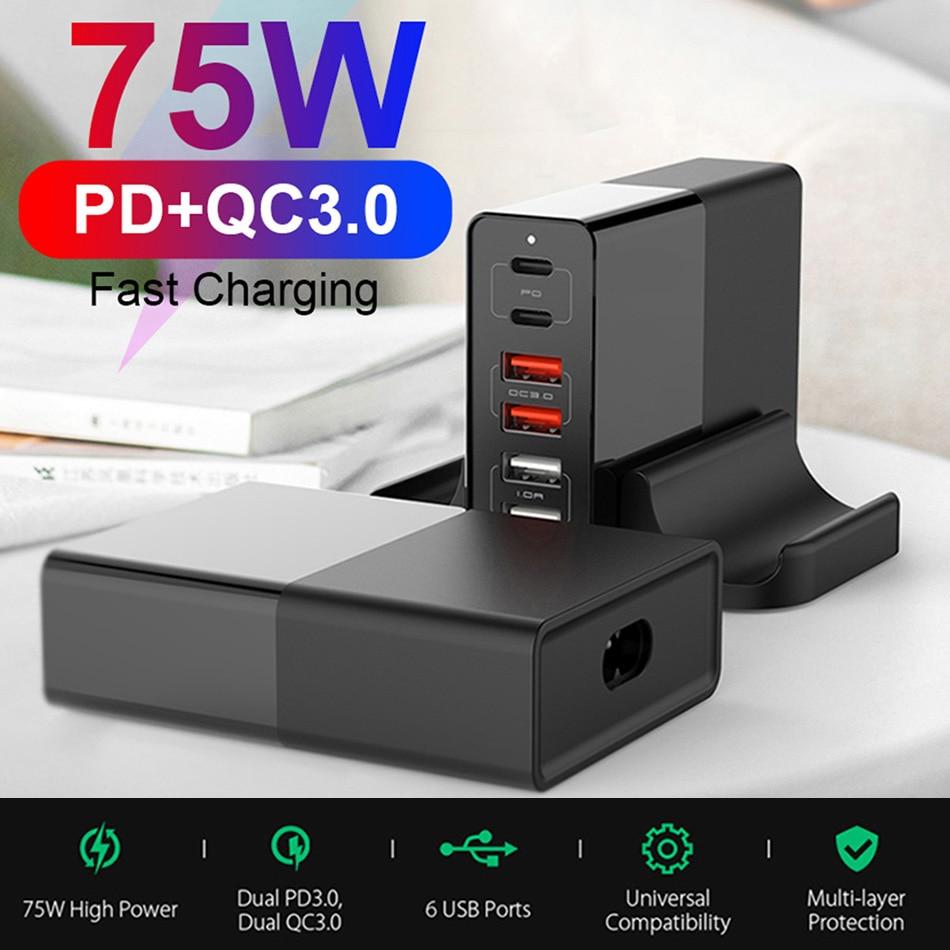 UTBVO 6-port 75 واط شاحن سريع الشحن 3.0 نوع C PD USB شاحن مع QC3.0 المحمولة سريع شاحن آيفون شاومي محمول