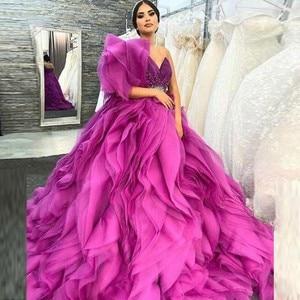 Saudi Arabia One Shoulder Prom Dresses Ruched Puffy Sweetheart Evening Gowns Dubai Robe De Soiree Sweep Train Photograph Dress