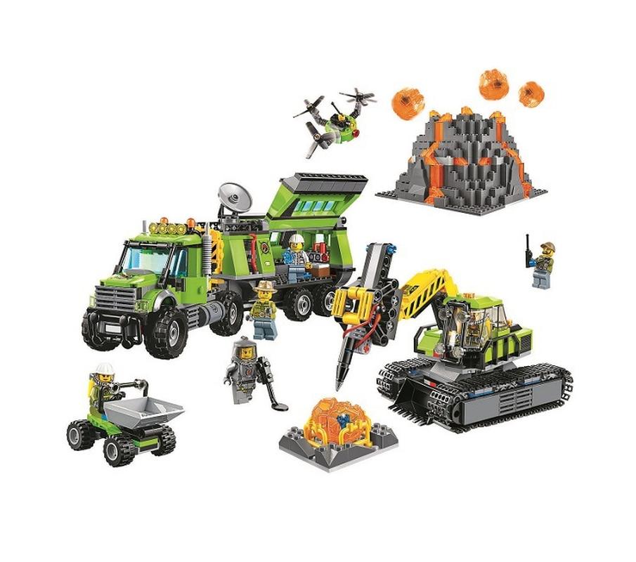 10641 Совместимость с Lepining City Series База разведки вулканов геологический строительный блок DIY Кирпичи игрушки для детей