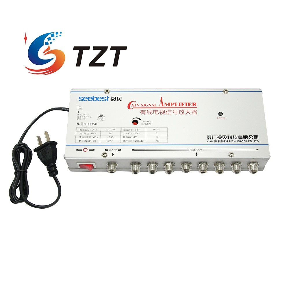 TZT SB-1030M8 8 طريقة CATV إشارة مكبر الصوت Sat كابل التلفزيون مكبر صوت أحادي الفاصل الداعم CATV 30DB